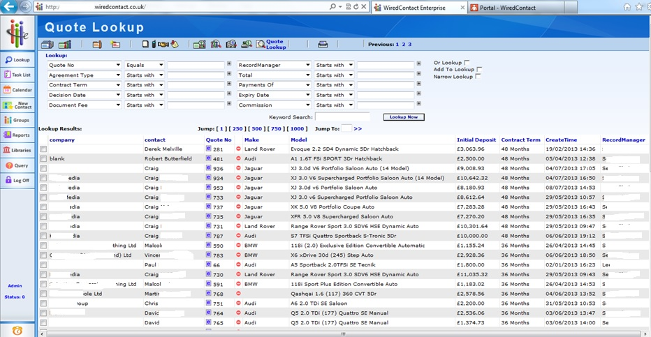 Automatic reports on opens won and lost sales sorted by Client name or sales persons name